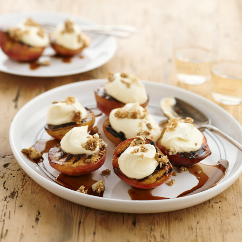 Chargrilled peaches with lime cream